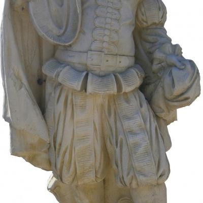 Statue de roi en pierre reconstituée