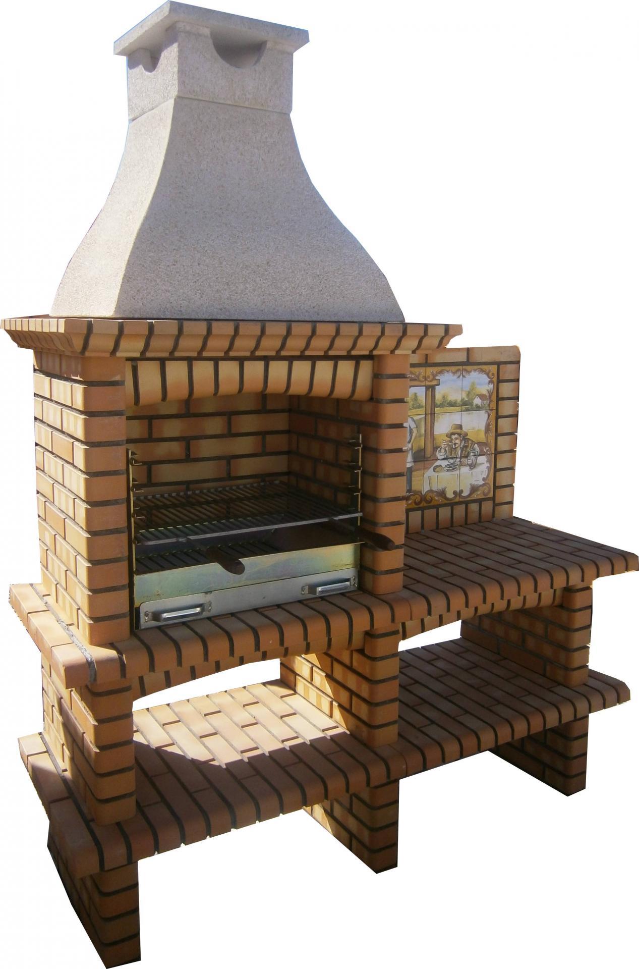 ... Barbecue En Brique Réfractaire Avec Panneau