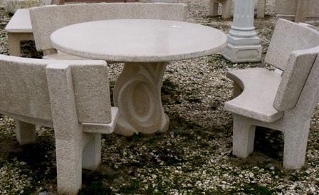 Salon de jardin - Table de jardin en pierre reconstituee ...