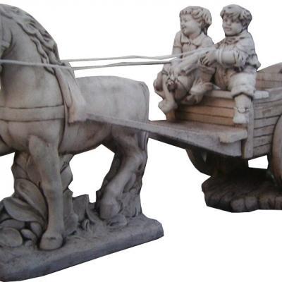 2 enfants sur une charrette